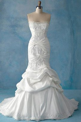 Meerjungfrau Kirche Bodenlanges Brautkleid mit Rücken Schnürung ohne Taille