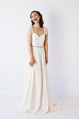 Chiffon Kurze Ärmeln Herz-Ausschnitt Einfaches Brautkleid mit Bordüre