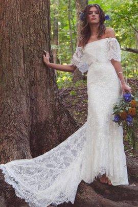Halbe Ärmeln Gericht Schleppe Romantisches Schlichtes Sittsames Brautkleid