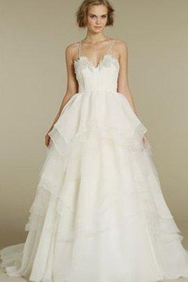Tüll Duchesse-Linie Schick Brautkleid ohne Ärmeln aus Organza