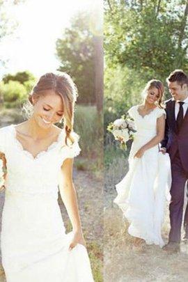 Tüll Normale Taille V-Ausschnitt A-Line Fantastisch Ärmelloses Brautkleid mit Bordüre