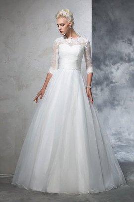 Reißverschluss Empire Taille Duchesse-Linie Bodenlanges Brautkleid mit Applikation