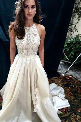 Satin Natürliche Taile Prinzessin Zukunftsorientierte A-Linie Brautkleid mit Bordüre