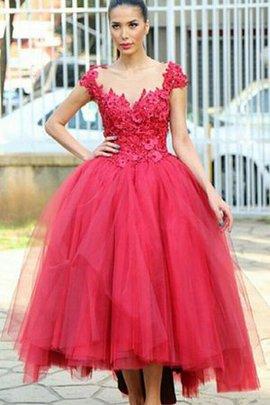Perlenbesetztes Duchesse-Linie Gerüschtes Wadenlanges Romantisches Abendkleid
