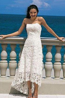 Trägerloser Ausschnitt Ärmellos Vorn Kurz Hinten Lang Luxus Legeres Brautkleid