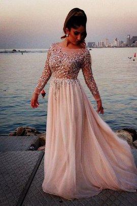 Langärmeliges Bateau A Linie Prinzessin Abendkleid mit Perlen