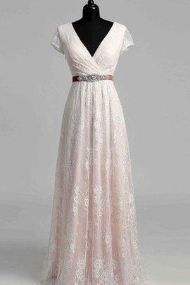 A-Line Vintage Perlenbesetztes Brautkleid mit Reißverschluss mit Gürtel