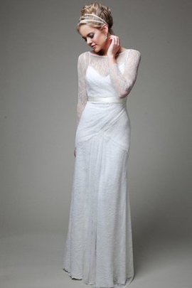 Enganliegendes Zeitloses Bateau Brautkleid mit Langen Ärmeln mit Kreuz