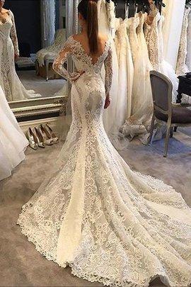 Langärmeliges V-Ausschnitt Meerjungfrau Stil Normale Taille Brautkleid mit Bordüre