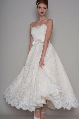 Trägerlos Spitze Herz-Ausschnitt Brautkleid mit Schleife mit Perlen