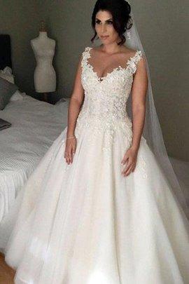 Traum V-Ausschnitt Tüll Brautkleid mit Applikation mit Rücken Schnürung