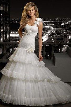 A-Line Ein Schulter Ärmelloses Bodenlanges Brautkleid mit Schichtungen