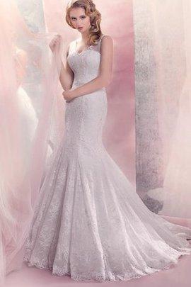 Spitze Meerjungfrau Stil Natürliche Taile Sweep Train V-Ausschnitt Brautkleid