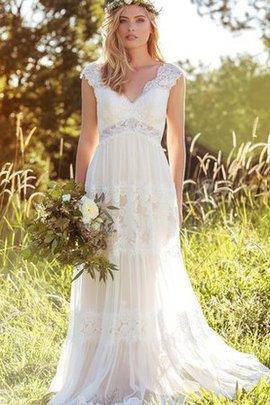 Spitze Kurze Ärmeln Sexy Anständiges Brautkleid mit Reißverschluss