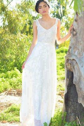Strand Ärmellos Schlichtes Brautkleid mit Schleife mit V-Ausschnitt
