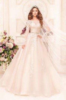 A-Line Schaufel-Ausschnitt Duchesse-Linie Bodenlanges Brautkleid mit Kapelle Schleppe
