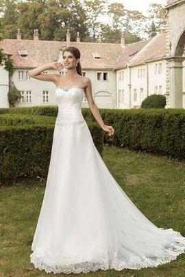 A-Line Sweep Zug Herz-Ausschnitt Bodenlanges Brautkleid ohne Ärmeln