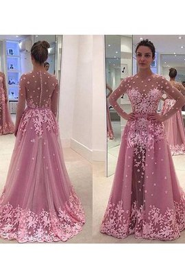 Langärmeliges A Linie Tüll Normale Taille Prinzessin Ballkleid