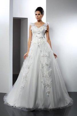 Satin Ärmelloses Reißverschluss Brautkleid mit Bordüre mit Spaghettiträger