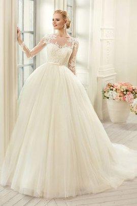 Tüll Kapelle Schleppe Elegantes Brautkleid mit Applike mit Langen Ärmeln
