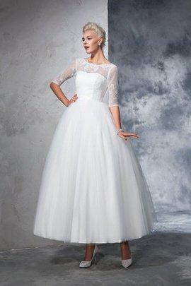 Duchesse-Linie Knöchellanges Sittsames Brautkleid mit Bordüre mit Reißverschluss