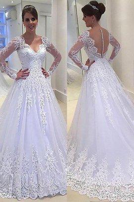 A-Line V-Ausschnitt Langärmeliges Prinzessin Brautkleid mit Gericht Schleppe