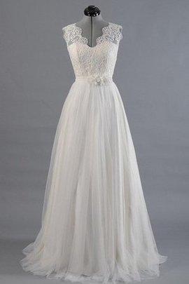 A-Line V-Ausschnitt Bodenlanges Brautkleid mit Gürtel mit Tiefem V-Ausschnitt