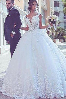 Tüll Sweep Zug Duchesse-Linie Modus Brautkleid mit Natürlicher Taille mit Bordüre