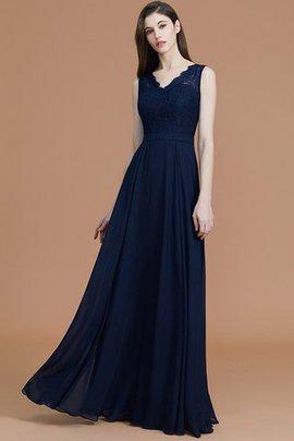Normale Taille V-Ausschnitt Bodenlanges Brautjungfernkleid mit Bordüre aus Chiffon