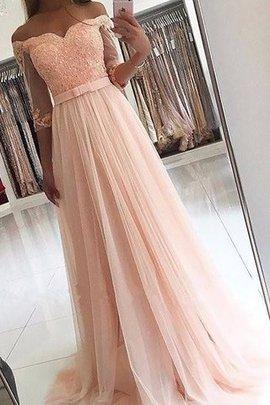 A-Line Prinzessin Sweep Train Abendkleid mit Gürtel mit Schleife
