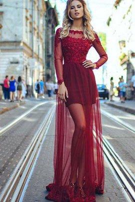 Tüll A-Line Normale Taille Lange Ärmeln Abendkleid mit Bootsförmiger Ausschnitt