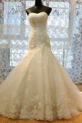 Spitze Organza Anständiges Brautkleid mit Bordüre mit Rüschen