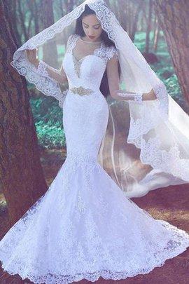 Normale Taille Gericht Schleppe Lange Ärmeln Brautkleid mit Applike mit Bordüre