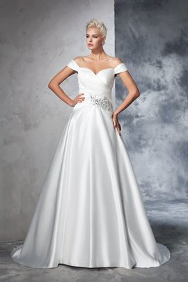 Natürliche Taile Schulterfreier Ausschnitt Gerüschtes Taft Anständiges Brautkleid