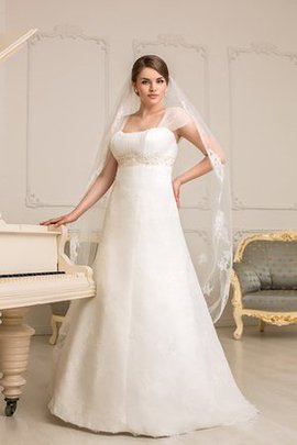 Empire Taille Gerüschtes Bodenlanges Brautkleid mit Bordüre mit Gekappten Ärmeln