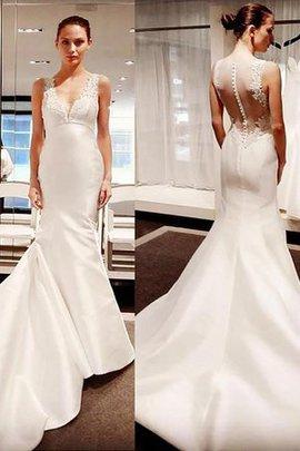 Satin Große Verkäufe Ärmelloses Meerjungfrau Stil V-Ausschnitt Brautkleid mit Applike