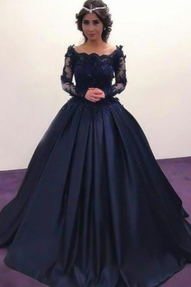 Single Duchesse-Linie Bateau Sweep Train Abendkleid mit Applike mit Langen Ärmeln