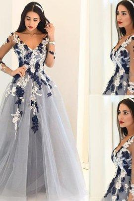 Sweep Zug Langärmeliges A-Linie Prinzessin Abendkleid mit V-Ausschnitt