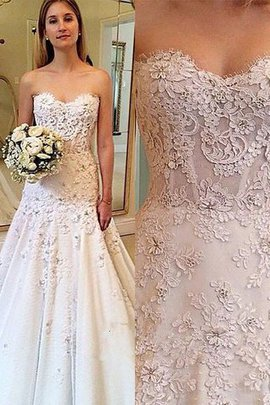 Normale Taille a linie Gericht Schleppe Brautkleid mit Bordüre ohne Ärmeln