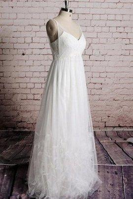 Ärmelloses V-Ausschnitt Bodenlanges Brautkleid mit Bordüre mit Rüschen