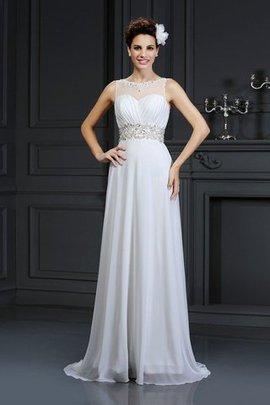 Prinzessin Chiffon Bootsförmiger Ausschnitt Anständiges Brautkleid mit Rüschen