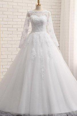 Tüll Perlenbesetztes Bateau Luxus Brautkleid mit Langen Ärmeln