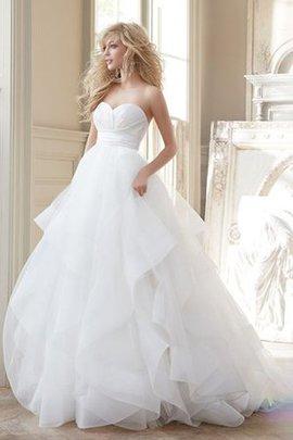 Tüll Geschichtes Pompöse Tiefer V-Ausschnitt Brautkleid mit Blase Saum