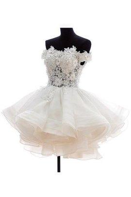 A-Line Reißverschluss Perlenbesetztes Brautkleid mit Rücken Schnürung mit Bordüre
