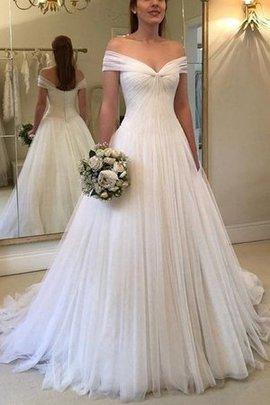 Ärmellos A-Line Tüll Atemberaubend Normale Taille Gerüschtes Prinzessin Brautkleid