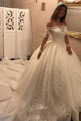 Schulterfrei Stilvoll Normale Taille Langärmeliges Brautkleid mit Applike aus Tüll