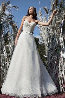 Spitze Ärmellos Herz-Ausschnitt Bodenlanges Brautkleid mit Rücken Schnürung