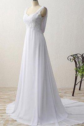 Ärmelloses Paillettenbesetztes Romantisches Brautkleid mit Offenen Rücken aus Chiffon