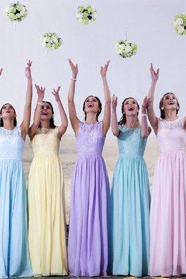 Schaufel-Ausschnitt Chiffon Prinzessin Bodenlanges Brautjungfernkleid mit Bordüre