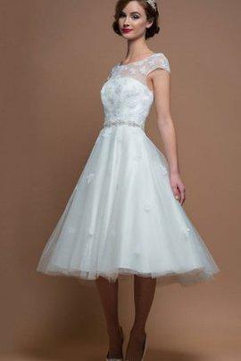 Klassisches Schaufel-Ausschnitt Wadenlanges Brautkleid mit Gürtel mit Gekappten Ärmeln